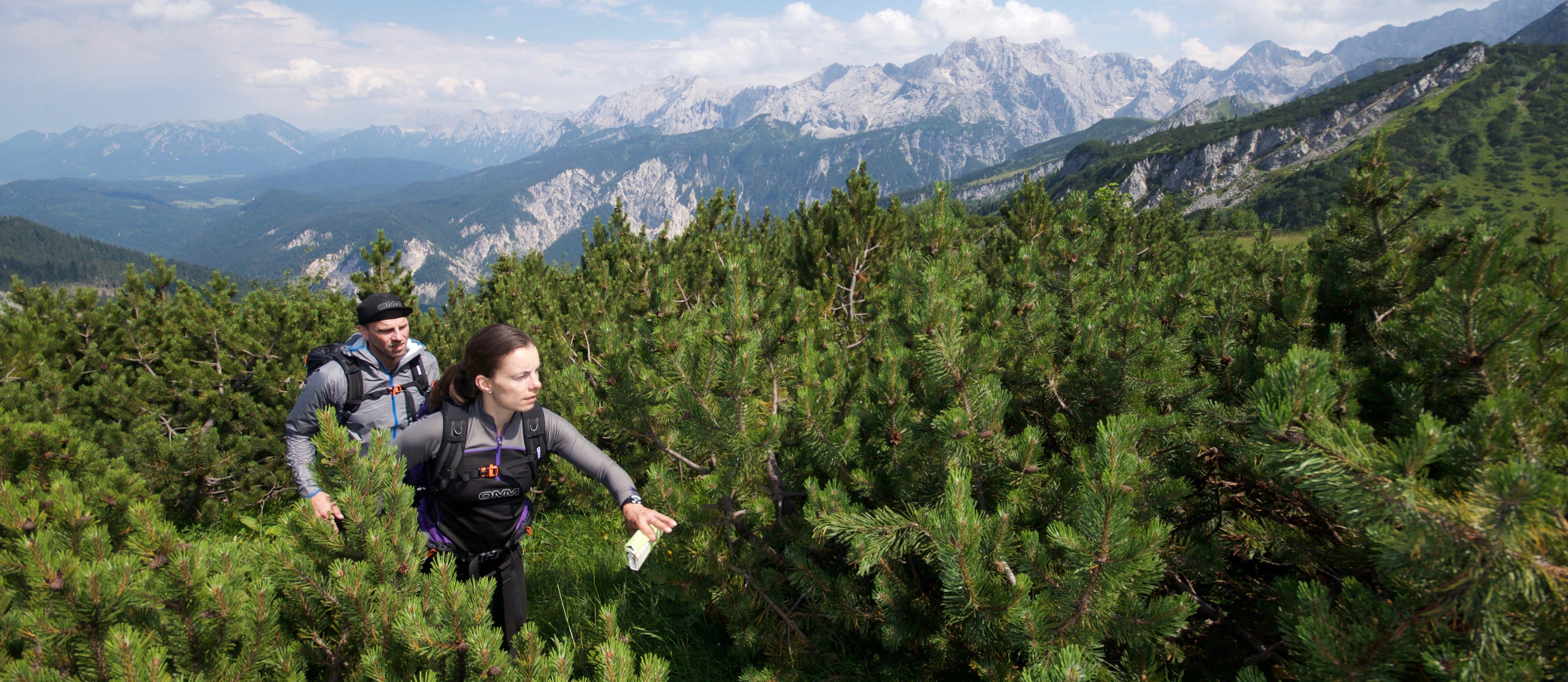 Zwei Läufer mit ultraleichter Ausrüstung in den Bergen